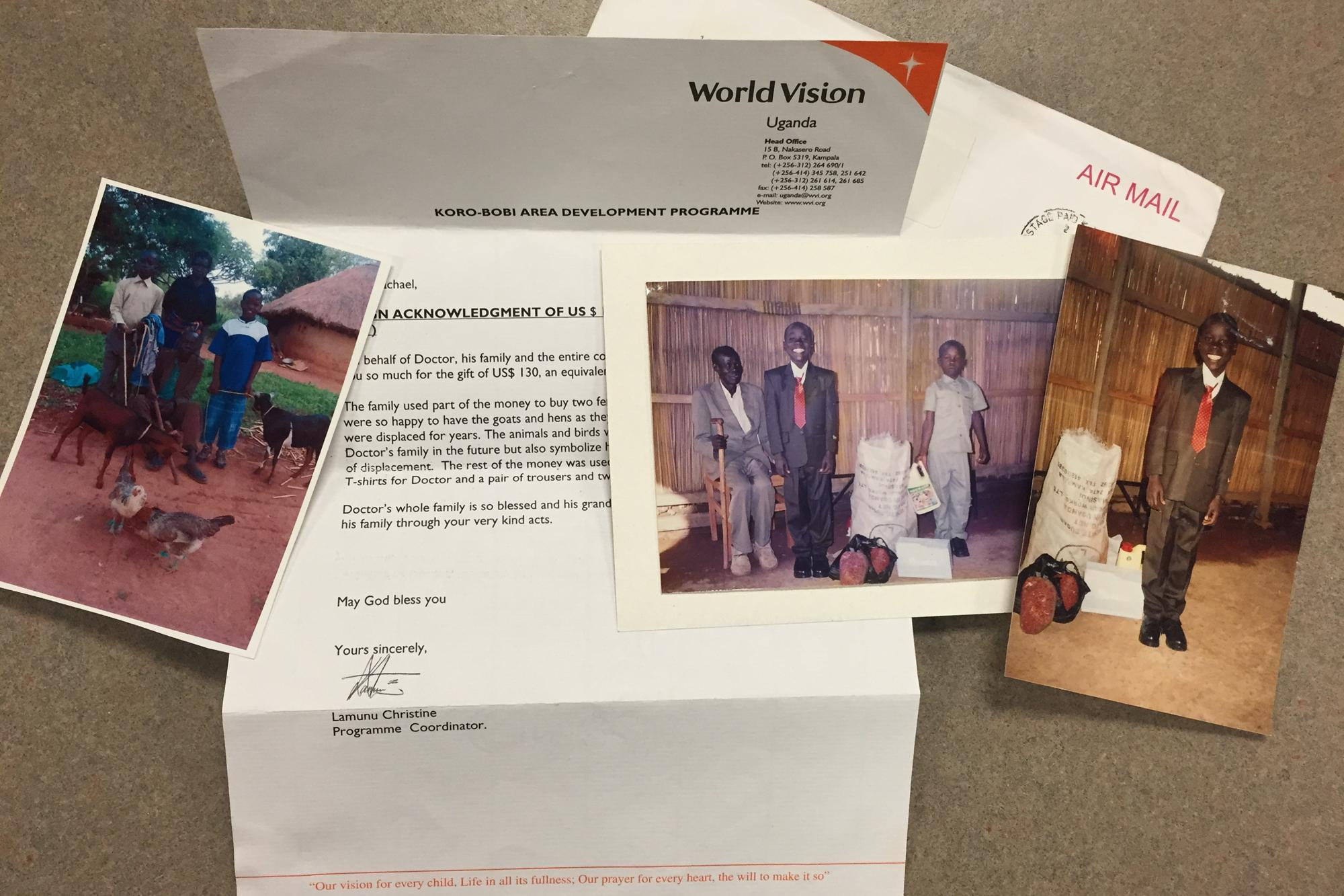 Photo of the letter and photos you get when you give a special gift